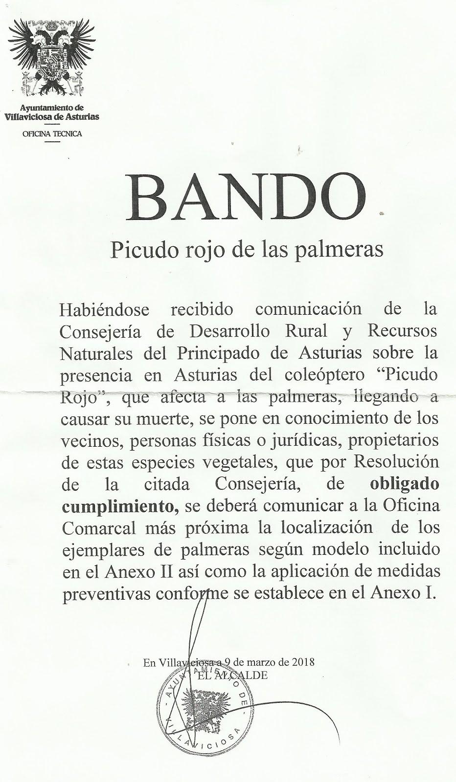 BANDO (Picudo Rojo de las palmeras)