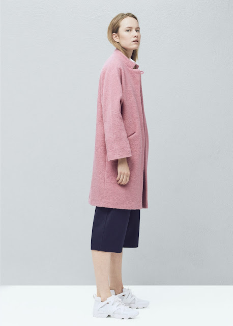 mango pink wool coat, pastel pink oversized coat,