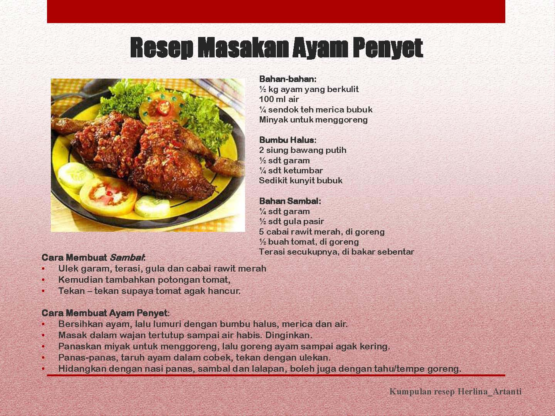 Resep Masakan Dalam Bahasa Inggris | Masa Kita