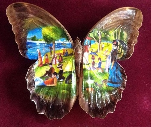 painrting on the real butterfly wings