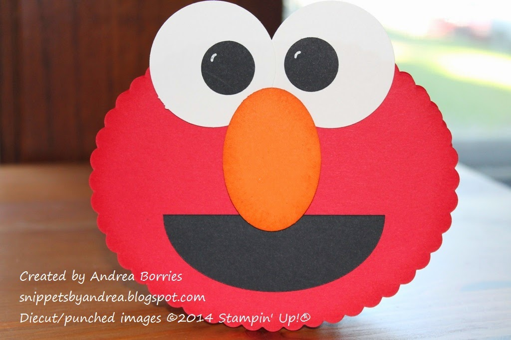 Punch-art kids card shaped like the face of Elmo.