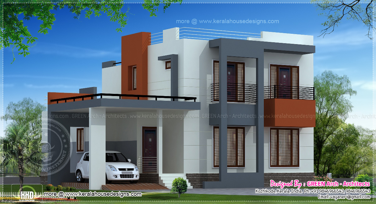 India house plan in modern style keralahousedesigns for Home design 900 square