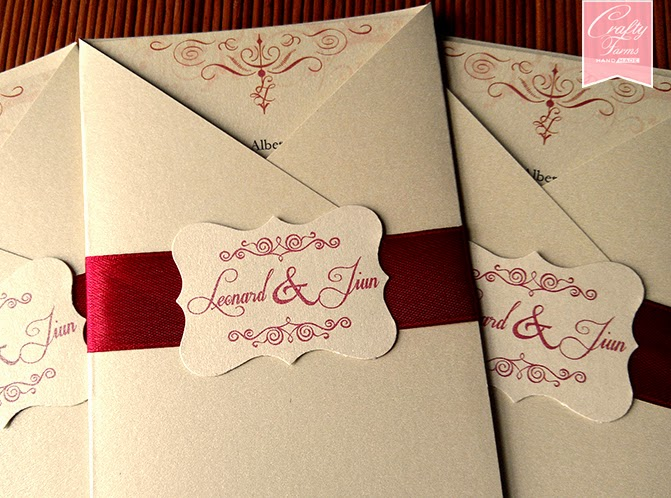 Vintage style flourish tag embellishment on wedding card
