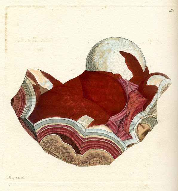 SILEX achates. Calcedony or Agate. From Sowerby's British Mineralogy. 1802-1807