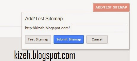 Kolom untuk memasukan sitemap di google webmaster