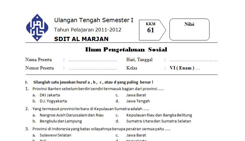 Download Soal Ips Kelas 6 Sd Uts Semester 1 2011 2012 Guru Mau Belajar