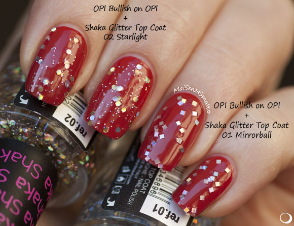 Shaka Glitter top coat: 01 Mirrorball - 02 Starlight su OPI rosso