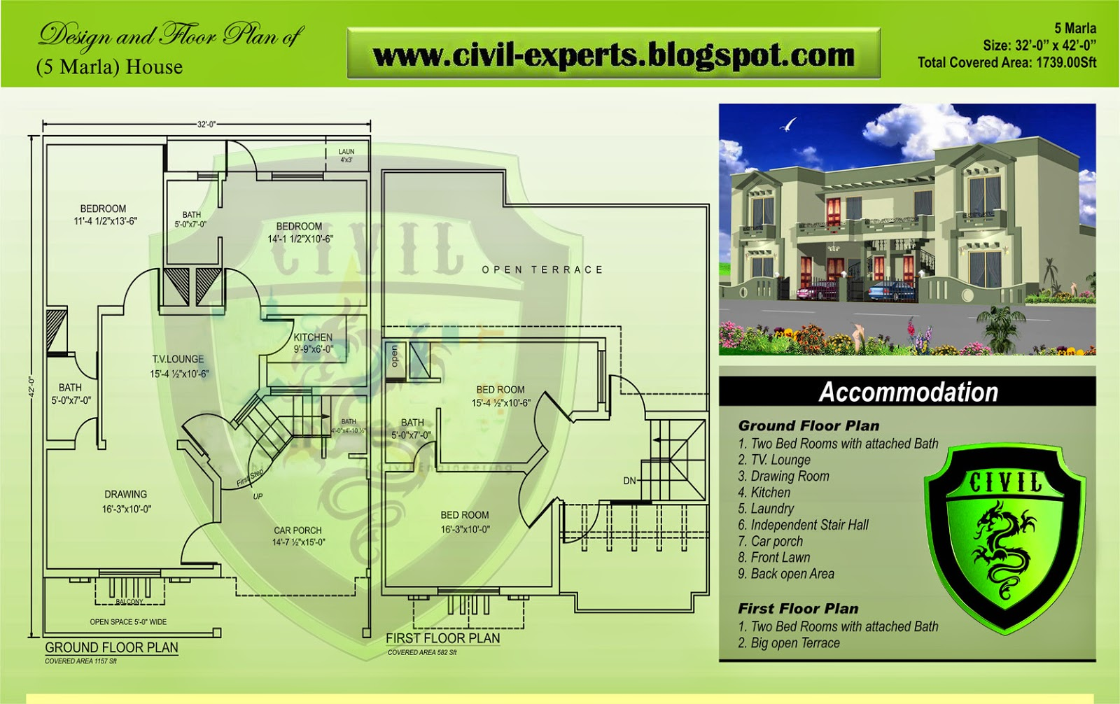 Civil Experts 5 Marla Houses Plans