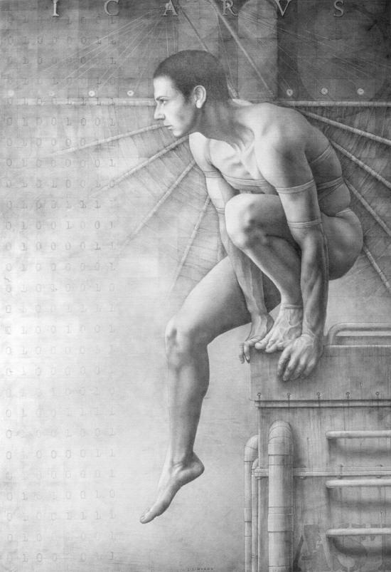 Icarus-Suite-Op.370-grafito-y-pan-de-plata-sobre-madera-imprimada-100x146-cm