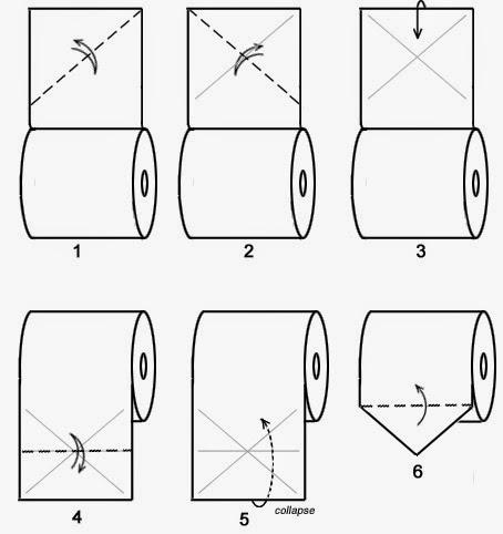 """Оригами """"Ёлка"""" из туалетной бумаги"""