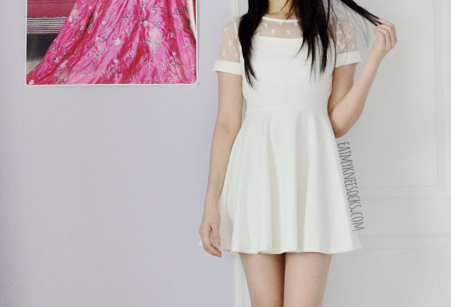 A sweet, romantic ulzzang outfit with the Tokyo Fashion Qme white polka dot mesh dress from Yumart.