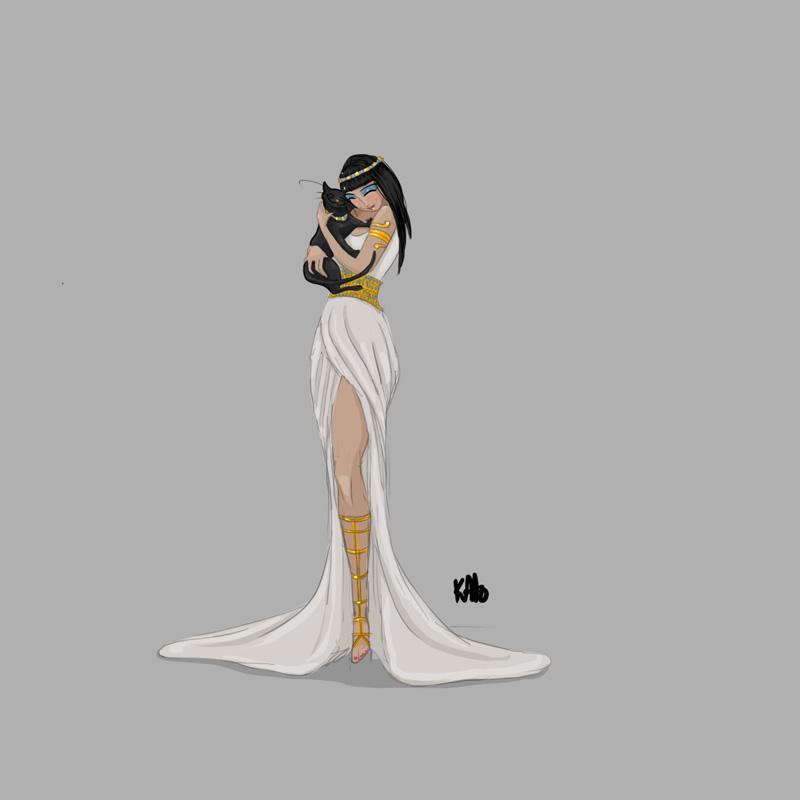 Egyptian Lady Drawing Egyptian Goddess Bastet