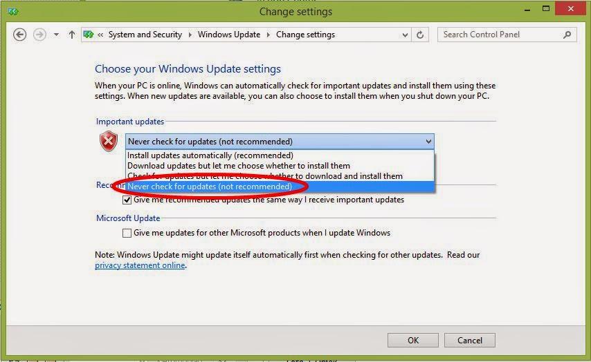 Mematikan auto update pada windows