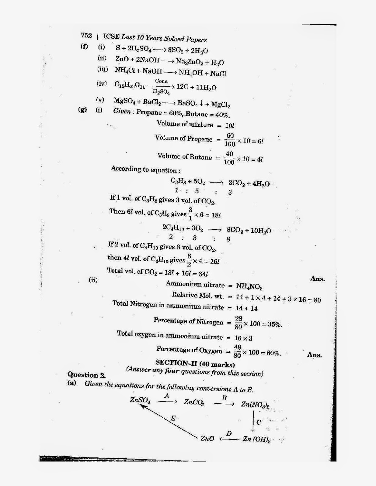 icse class 10th chemistry solved question paper 2010