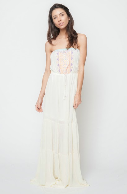 Buy online neon embroidered strapless maxi dress for women on sale