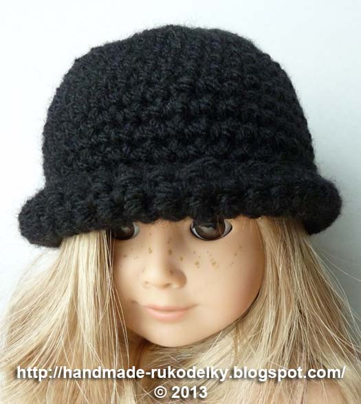 Free Knitting Pattern For Doll Hat : HAND MADE - RUKODELKY: Crocheted Hat With Rolled Up Brim For American Girl Do...