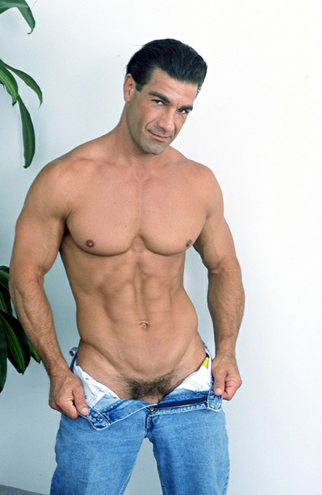 Charming Nude men in jeans excited