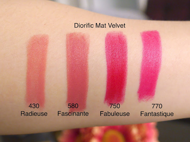 dior mat velvet radieuse, fascinante, fabuleuse, fantastique swatch review