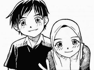 gambar Kartun  Muslim berpasangan couple