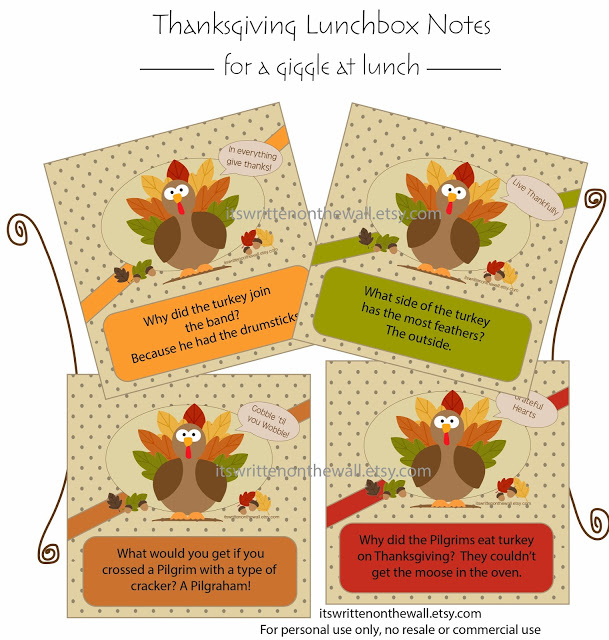 Turkey Jokes/Lunchbox Notes for November/Thanksgiving