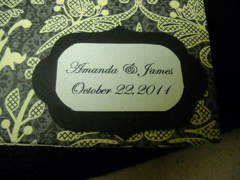 This dark gray and ivory lace themed wedding guest book was custom made for