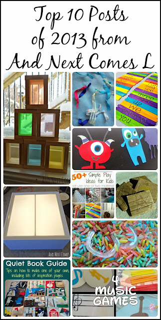 Top 10 posts of 2013 (quiet books, busy bags, DIY projects, and music activities for kids) from And Next Comes L