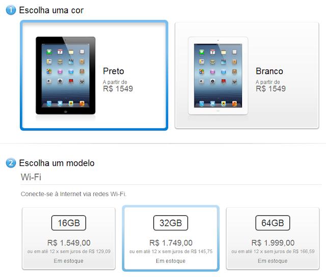 novo iPad - Em estoque