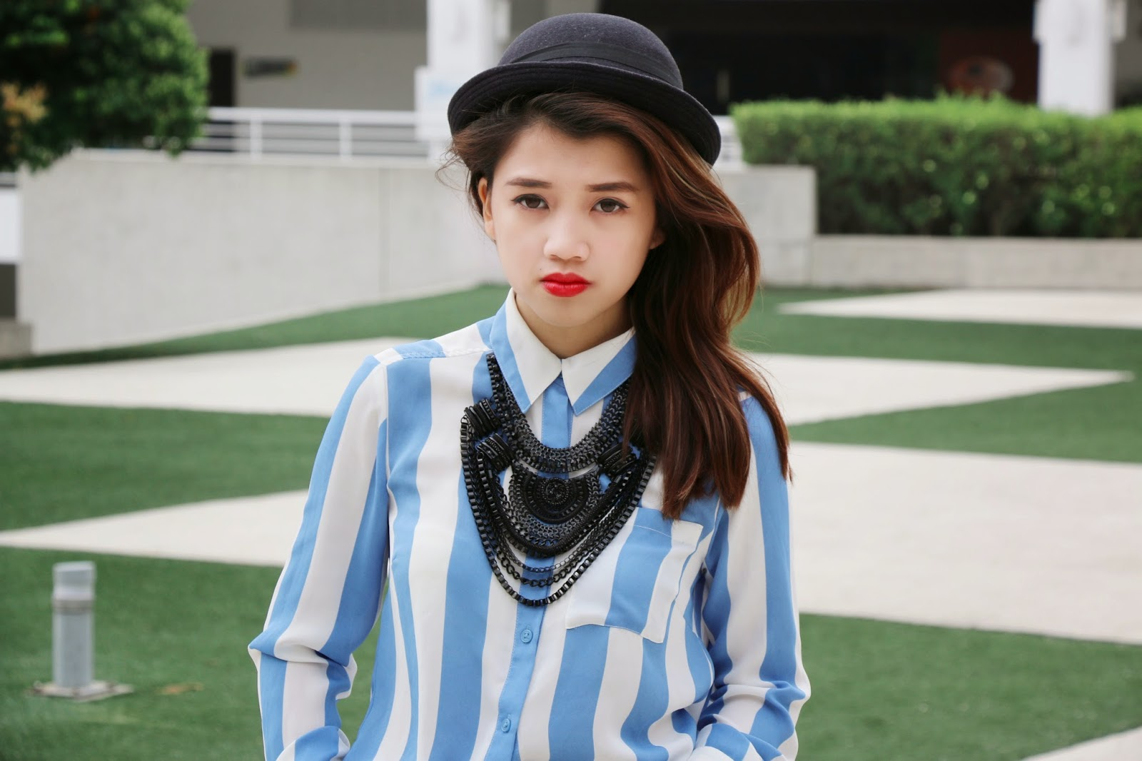 missalvy, blue, stripes, droopy, blue hat, ootd