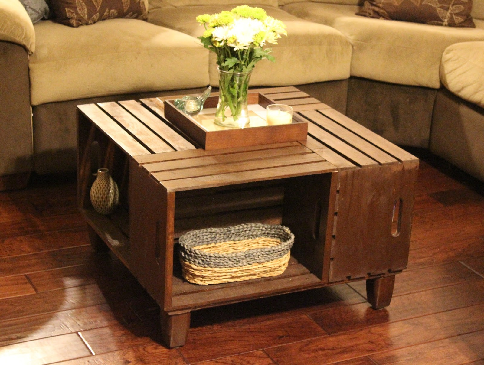 Landing On Love DIY Crate Coffee Table - Wooden dog crate coffee table