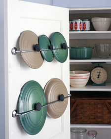 11 Ways to Organized with Towel Rods -- organize pan lids:: OrganizingMadeFun.com