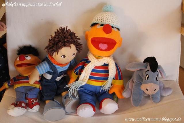 DIY : Pudelmütze und Schal für Puppen und Kuscheltiere (ca. 30-40 cm) schnell und einfach selbst häkeln, mit kostenloser Anleitung