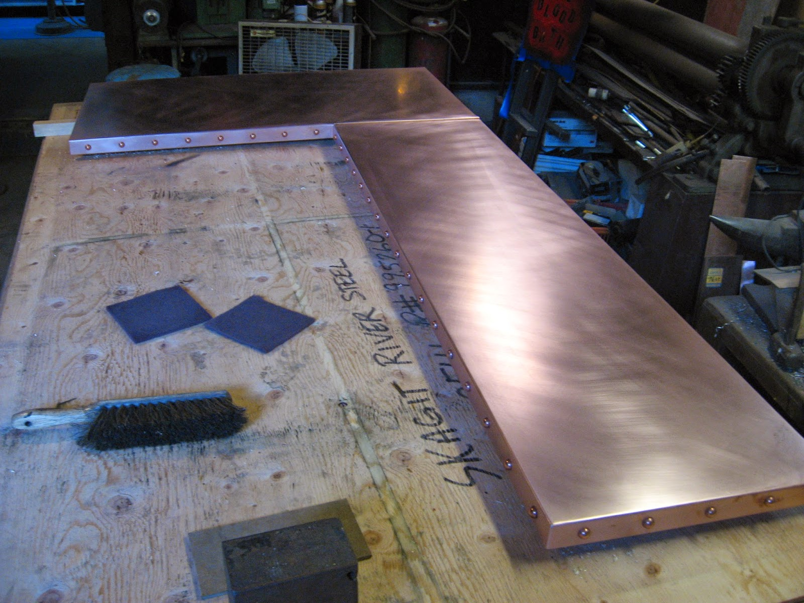 New L Shaped Copper Bar Top With Welded Corners Flattened S Seam And 3 4 Rivets