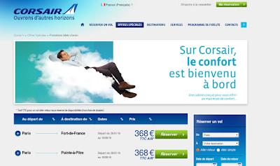 Promo Corsair , billets Guadeloupe et Martinique à 368 euros.