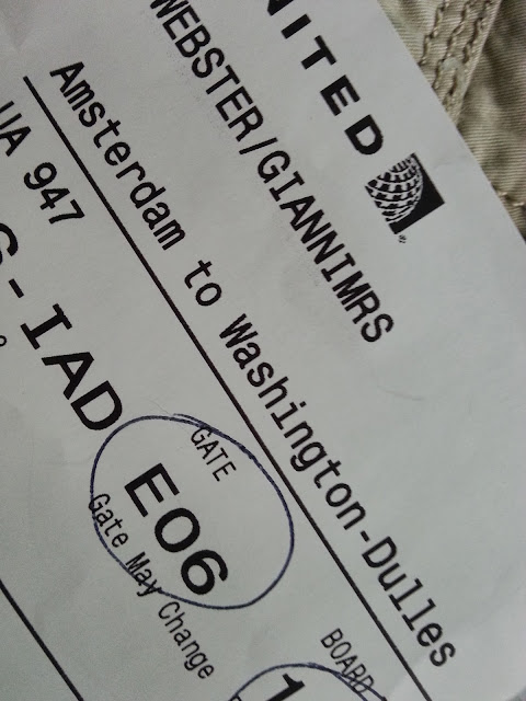 Boarding pass Amsterdam to Washington on October 6.
