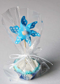 Pinwheel-Topped Cupcakes by SweeterThanSweets