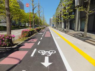 Bicycle lane in Kanazawa Japan