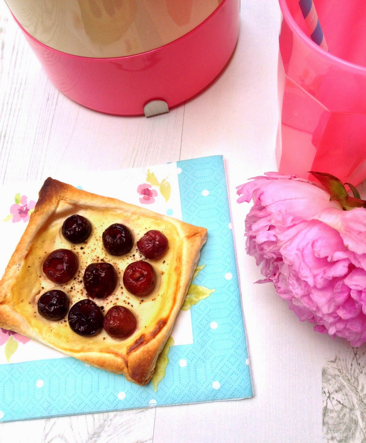 cherry and pepper custard tart