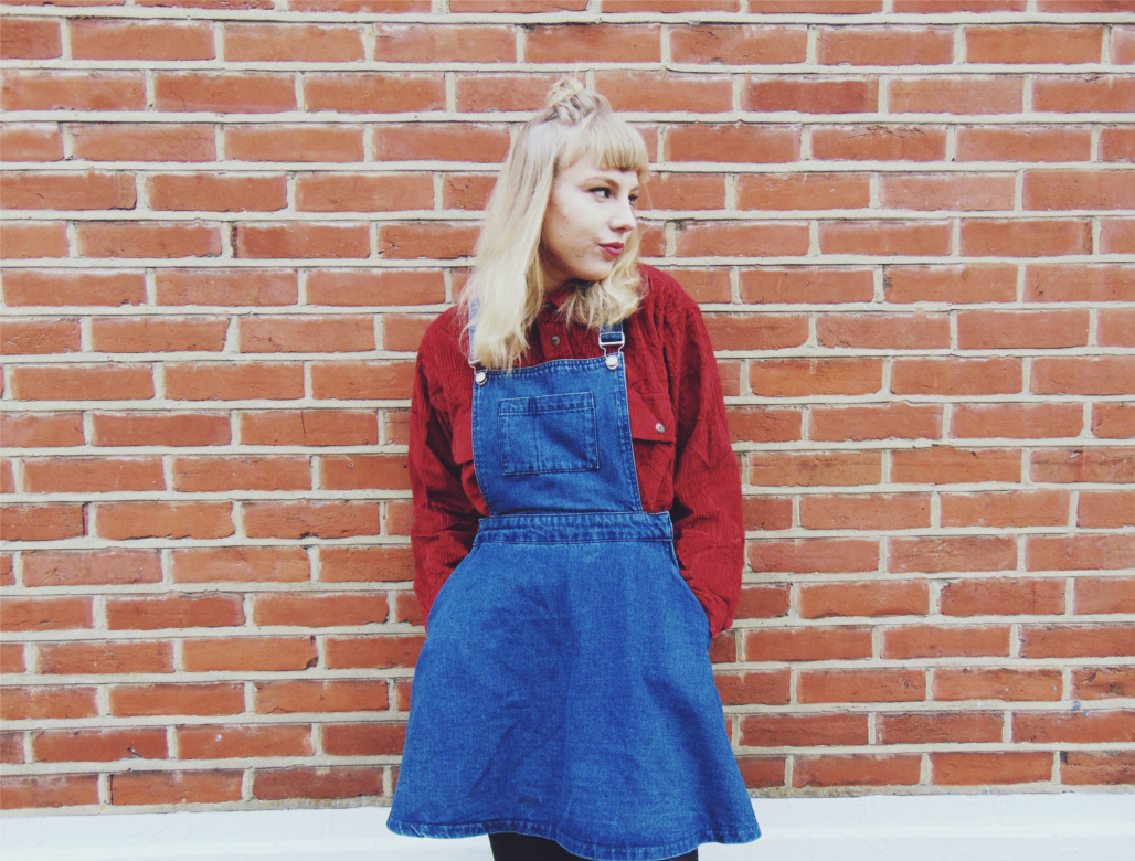 vinatge outfit, 90's inspired outfit, chenille shirt, denim pinafore dress, autumn 2015 outfit ideas, biker boots, style inspiration, fashion inspiration, vintage inspired ootd
