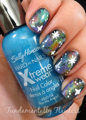 Neon Galaxy Nails with Sally Hansen Blue Me Away on Fundamentally Flawless