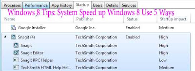 Windows 8 Tips: System Speed up Windows 8 Use 5 Ways