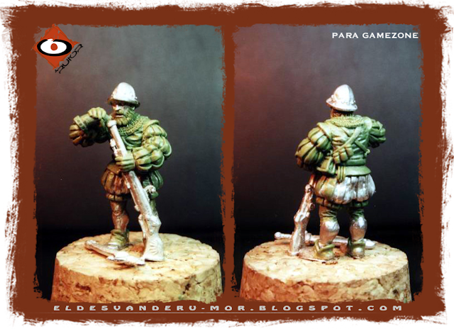 Miniatura diseñada y esculpida por ªRU-MOR para Gamezone, ejercito de los tercios del Imperio de Warhammer Fantasy. Arcabucero recargando arma
