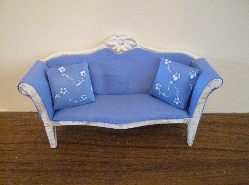couch loveseat tlc miniature dollhouse needs red damaged velvet