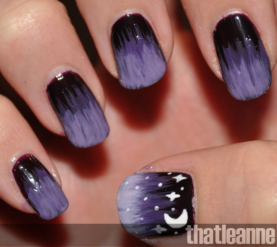 Fan nail designs gallery nail art and nail design ideas purple starry nights nail art tutorial easy nail art then i carefully brushed streaks of colour prinsesfo Image collections
