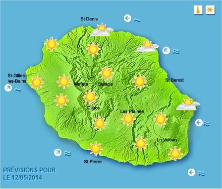 Prévisions météo Réunion pour le Lundi 12/05/14