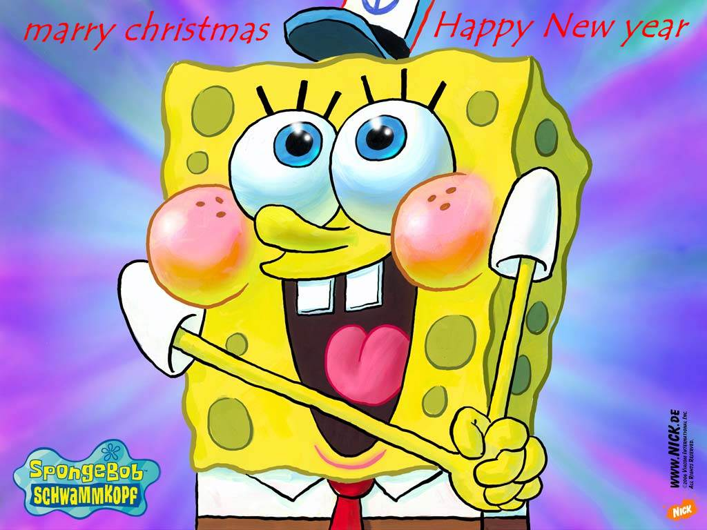 merry christmas and happy new year cartoon wallpapers