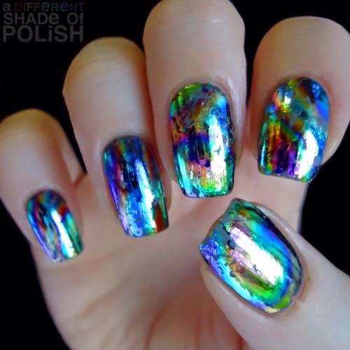 Shellac polish and foil applications natural acrylics