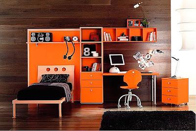 habitación muebles naranjas niño