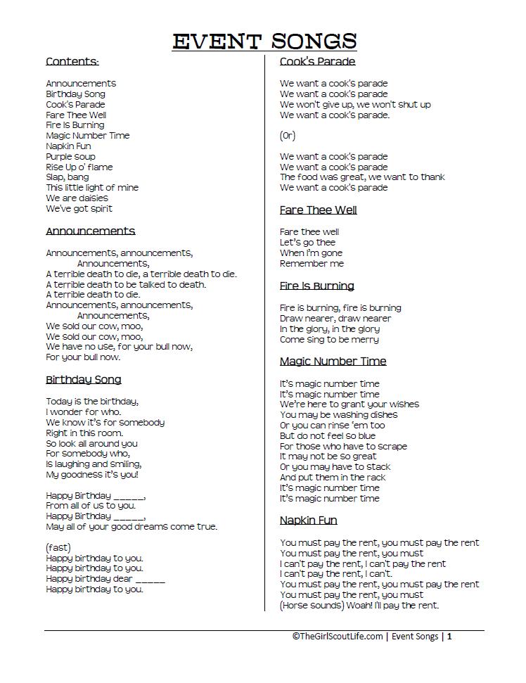 Lyric birthday song lyrics : The Girl Scout Life: My Song Book