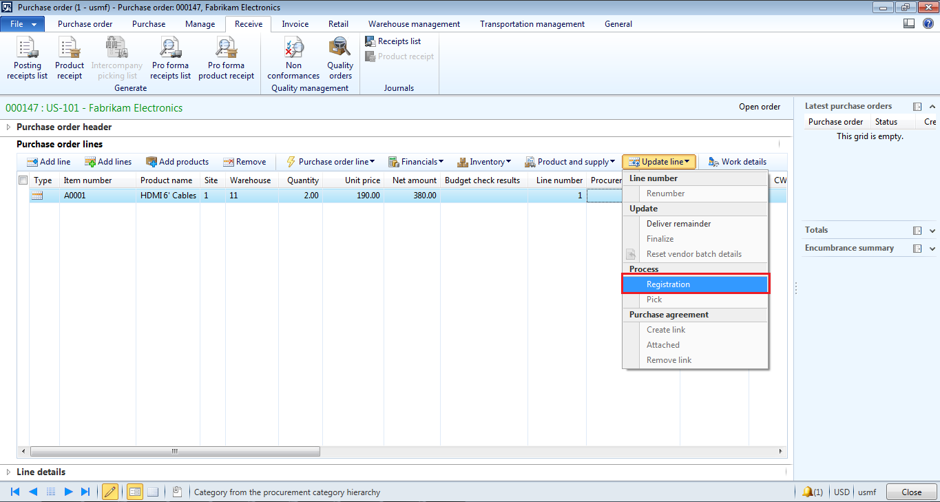 how to create order inventory in myob