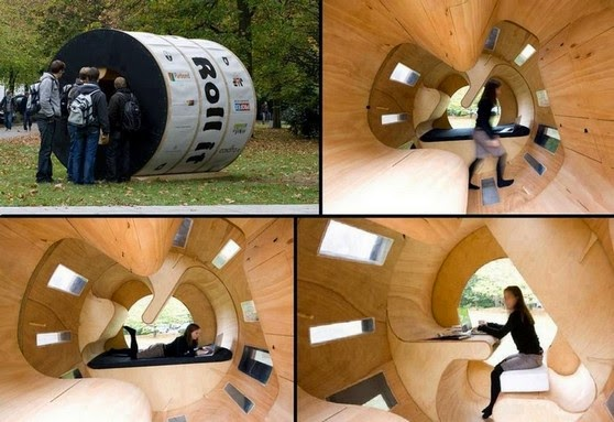 Small cylindrical home 'Roll it' outside view